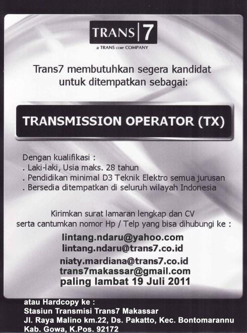 TRANSMISSION OPERATOR (TX)